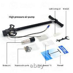 4 Stage 4500PSI PCP Air Tank Rifle Filling Stirrup Hand Pump High Pressure Gauge