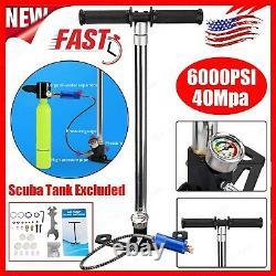 4 Stage 6000PSI PCP Air Tank Rifle Filling Stirrup Hand Pump High Pressure Gauge