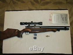 BSA 22 cal Bolt action PCP Air Rifle, Walnut Stock 2 10 rnd mags, and scope