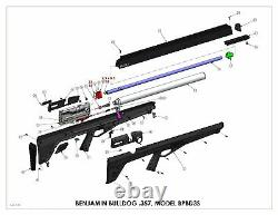 Benjamin Bulldog. 357 PCP Hunting Rifle, Black BPBD3S
