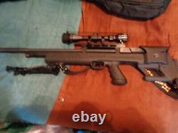 Hatsan pcp air rifle. 25 synthetic stock, bipod, clips, scope, and sling