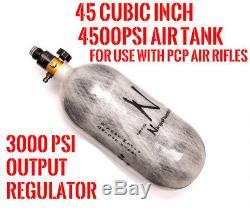Ninja PCP Carbon Fiber Air Tank 45CI with PCP Air Rifle Regulator 3000PSI OUTPUT