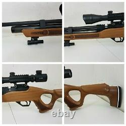 PCP Hatsan Wood Flash QE. 25 CAL Air Rifle with Scope and Green Laser Dot