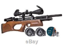 Puncher Breaker Silent Walnut Sidelever Pcp Air Rifle Kit. 25 Caliber With Scope
